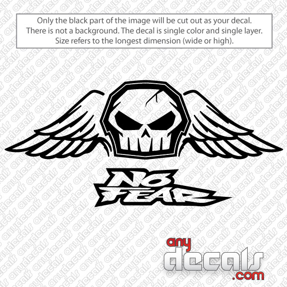 Motocross Car Decals No Fear Skull With Wings Car Decal - Stickers and decals for cars