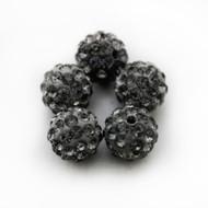 10mm Shamballa Beads - Black Diamond