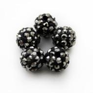 10mm Shamballa Beads - Hematite Black Grey