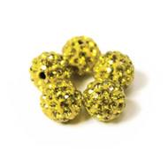 10mm Shamballa Beads - Lemon Yellow