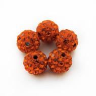 10mm Shamballa Beads - Sun Orange