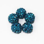10mm Shamballa Beads - Teal Blue