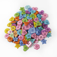Four Hole Buttons Pastel Shapes Mix 50g