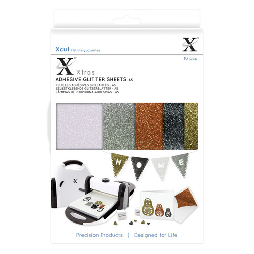 X-Cut A5 Adhesive Glitter Sheets - 5 metallic colours including white, silver, copper, black and gold