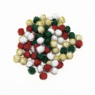 Darice Pom Poms Tinsel Xmas Red Green Gold White 10mm