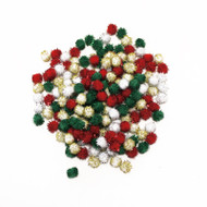 Darice Pom Poms Tinsel Xmas Red Green Gold White 7mm