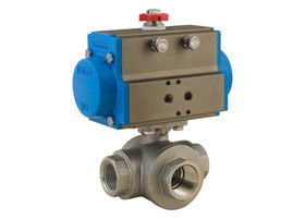 "1-1/4"" Bonomi 8P0144 - 3 Way, Stainlesss Steel, L-Port, Ball Valve with DA Actuator"