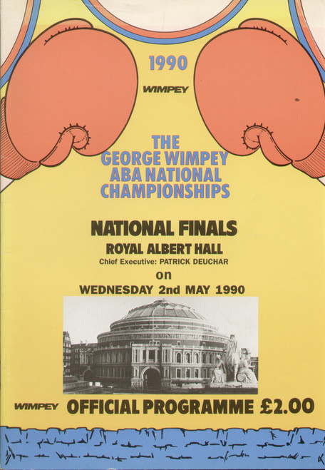 original programme for the ABA National Championships held at Royal Albert Hall, on 2 May 1990.