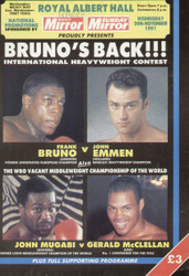 original programme for the international heavyweight contest Frank Bruno V John Emmen held at the Royal Albert Hall on 20 November 1991.