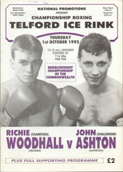 original programme for the Middleweight Commonwealth Title fight Richie Woodhall V John Ashton held at Telford Ice Rink on 1 October 1992.