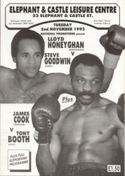 original programme for the Light-middleweight bout Lloyd Honeygan V Steve Goodwin held at the Elephant & Castle Leisure Centre, London on 2 November 1993.
