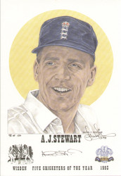 portrait of Alec Stewart, England & Surrey, Wisden cricketer of the year 1993. The artwork is by official Wisden artist Denise Dean and is issued as a limited edition of 150, this being 98.