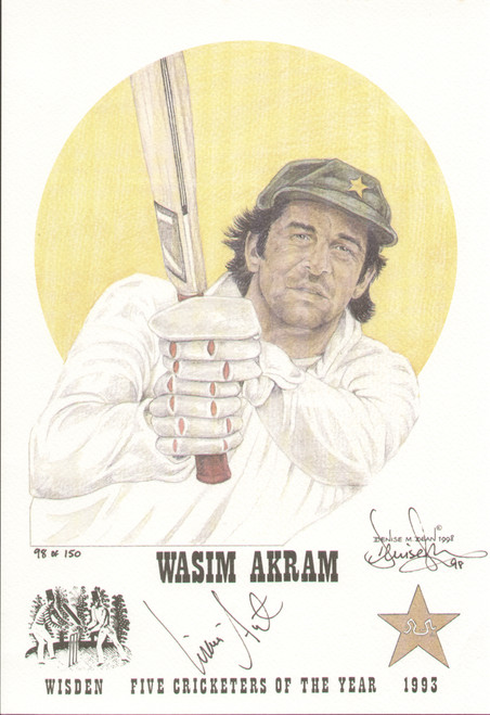 portrait of Wasim Akram, Pakistan, Wisden cricketer of the year 1993. The artwork is by official Wisden artist Denise Dean and is issued as a limited edition of 150, this being 98.