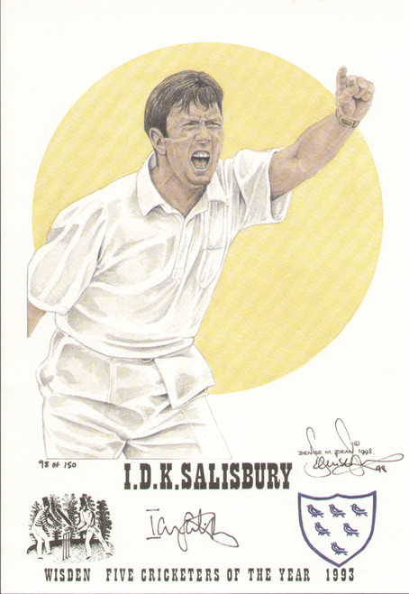 portrait of Ian Salisbury, England, Sussex, Surrey & Warwickshire, Wisden cricketer of the year 1993. The artwork is by official Wisden artist Denise Dean and is issued as a limited edition of 150, this being 98.