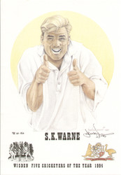 portrait of Shane Warne, Australia, Wisden cricketer of the year 1994. The artwork is by official Wisden artist Denise Dean and is issued as a limited edition of 150, this being 98.