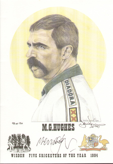 portrait of Merv Hughes, Australia, Wisden cricketer of the year 1994. The artwork is by official Wisden artist Denise Dean and is issued as a limited edition of 150, this being 98.