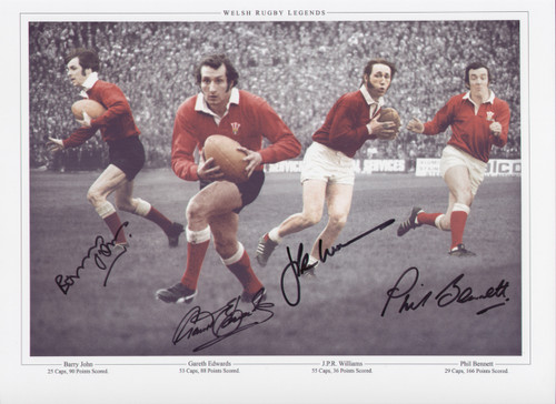 Superb montage showing four Welsh rugby Legends, signed by Gareth Edwards, Barry John, Phil Bennett and JPR Williams. Great addition to any collection.