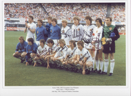 Superb photograph showing Aston villa prior to kick off in the European Cup Final held on 26 May 1982. The photogrpah has been signed by 11 of the squad