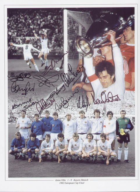 Superb montage showing Aston Villa in the European Cup Final held on 26 May 1982. Villa secured a famous victory over German giants Bayern Munich with a goal from Peter Withe. The montage has been signed by 11 of the squad