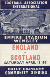 original Official 1961 Song Sheet for England V Scotland, the game was played on 15 April 1961 at Wembley.