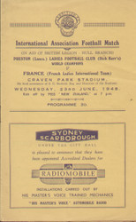 On offer is an original official programme for the International match Preston (Dick Kerr's) Ladies V France Ladies, the game was played on 23 June 1948. An extremely rare programme from Dick Kerr's famous ladies team and the then World Champions, fantastic piece of football memorabilia.