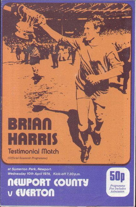 On offer is an original programme for the Brian Harris Testimonial, the match Newport County V Everton was played at Somerton Park on 10 April 1974.