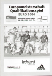 Liechtenstein V England Programme 1997  On offer is an original Official programme for the European Championship qualifying match Leichtenstein V England, the game was played on 29 March 2003 at the Rheinpark Stadion, Vaduz.