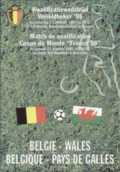 On offer is an original Official programme for the World Cup Qualifying match Belgium V Wales played on 11 October 1997 in Brussels.