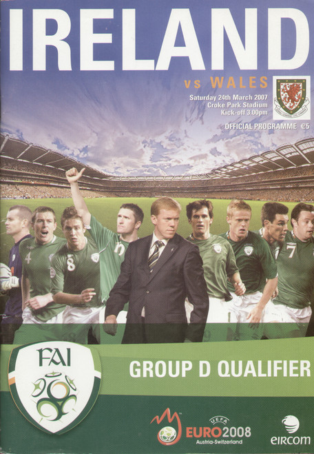 On offer is an original Official programme for the European Championship Qualifier Ireland V Wales played on 24 March 2007 at Croke Park. This was the first football match to be hosted at Croke Park.