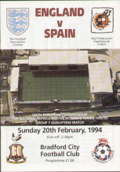 On offer is an original official programme for the European Championship Qualifier England Ladies V Spain Ladies, the game was played on 20 February 1994.