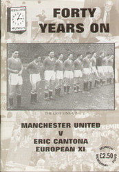 On offer is an original Official programme for the Munich tribute match Manchester United V Eric Cantona XI played on 18 August 1998 at Old Trafford.
