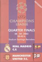 On offer is an original Official programme for the Champions League match Real Madrid V Manchester United played on 8 April 2003.(Please note three different programmes were issued for this match, of which this is one).