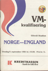 Norway V England 1981 World Cup Qualifier 1981