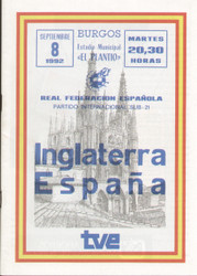 On offer is an original Official programme for the international friendly match Spain V England, the game was played on 8 September 1992.