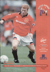 original Official programme for the League Cup 2nd round match Manchester United V York city played on 20 September 1995 at Old Trafford.