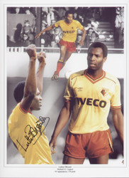 Superb signed montage of Watford legend Luther Blissett, Blissett's goals played a major part in Watford's dramatic rise from fourth to first division under Graham Taylor. Blissett was capped for England scoring a hatrick on his debut.