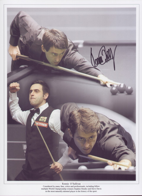 Superb signed montage of snooker legend Ronnie O'Sullvan. Considered by many fans, critics and professionals, including fellow players as the most naturally talented player in the history of the sport.