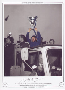 John Greig holds aloft the trophy as Rangers players parade around Ibrox on a lorry after defeating Dynamo Moscow in the 1972 European Cup Winners Cup Final in Barcelona.