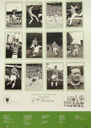 Superb hand signed Cup Kings series limited edition celebrating Celtic's European Cup victory in 1967. The picture contains 12 pen pictures, one of each member of the victorious Celtic side. The legend contains full details of each round. Signed by Celtic legends Billy McNeill, Steve Chalmers, Tommy Gemmell.