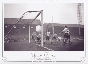 Maurice Norman (falling, centre right) scores for Tottenham Hotspur against Sheffield Wednesday at Hillsborough, 1960.