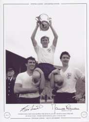 Tottenham Hotspur captain Danny Blanchflower holds aloft the FA Cup as he is chaired by teammates Bobby Smith & Maurice Norman. Tottenham defeated Burnley 3-1 in the final.