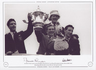 Tottenham Hotspur captain Danny Blanchflower holds aloft the FA Cup along with teammates Norman, Brown & Baker during homecoming celebrations after victory in the 1962 Final against Burnley.