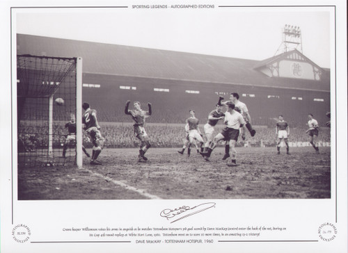 Crewe keeper Williamson raises his arms in anguish as he watches Tottenham Hotspur's 3rd goal scored by Dave Mackay (centre) enter the back of the net, during an FA Cup 4th round replay at White Hart Lane in 1960. Tottenham went on to score a further 10 goals in an amazing 13-2 victory!