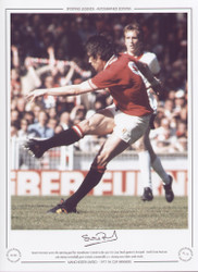 Stuart Pearson scores the opening goal for Manchester United in the 1977 FA Cup Final against Liverpool. Goals from Pearson & Jimmy Greenhoff give United a memorable 2-1 victory over their arch-rivals.