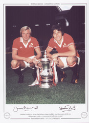Manchester United's 1977 FA Cup goalscorers Jimmy Greenhoff & Stuart Pearson, pose with the FA Cup.