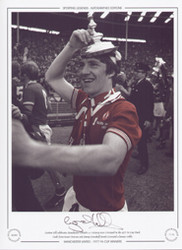 Gordon Hill celebrates Manchester United's 2-1 victory over Liverpool in the 1977 FA Cup Final.