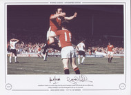 Manchester United's Lou Macari leaps into the arms of team-mate Gordon Hill after his shot was deflected by Jimmy Greenhoff to score the winning goal in the 1977 FA Cup Final.