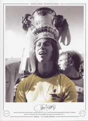 Arsenal's match winner Charlie George is 'crowned' with the FA Cup. It was his injury time winning goal that defeated Liverpool in the 1971 FA Cup Final.