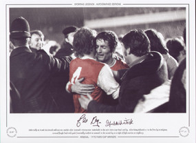 Eddie Kelly & Frank McLintock embrace one another after Arsenal's victory over Anderlecht in the 1970 Fairs Cup Final 2nd Leg.