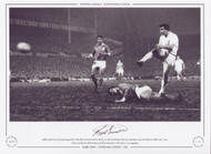 Bobby Smith scores the opening goal for Tottenham Hotspur against Benfica, in the second leg of the 1962 European Cup semi-final at White Hart Lane.